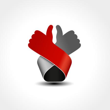 Vector best choice symbol - hand gesture. Red, grey design. - illustration Illustration