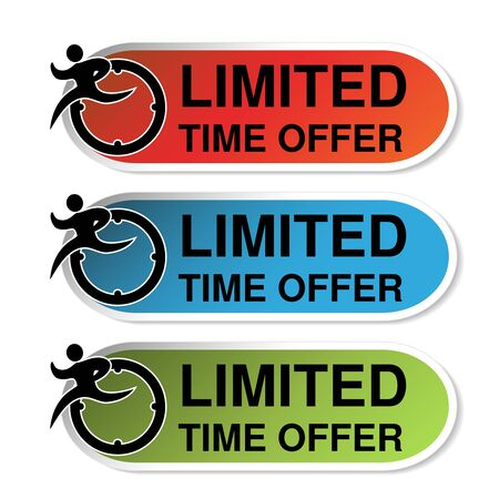 limited time: Vector oval labels of Limited Time Offer with runner man, red, blue and green sticker. - illustration