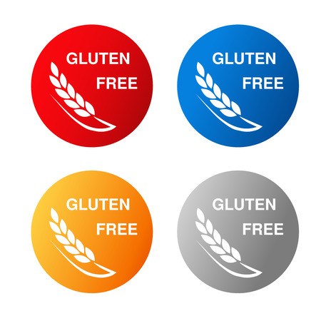 preservatives: Vector gluten free symbols isolated on white background. Silhouettes spikelet in a circle button. Red, blue, orange and silver icon. - illustration Illustration