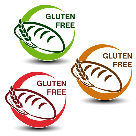 wheat bread: Vector gluten free symbols isolated on white background. Circular icons with silhouettes of bread with spikelet. - illustration