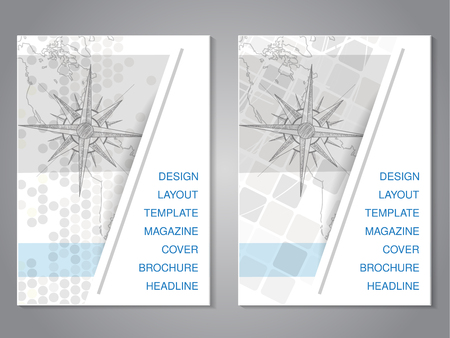 Vector modern brochure with hand draw map and compass design, flyer with grey dotted background. Layout template. Aspect Ratio for A4 size. Poster of blue, grey and white color. Magazine cover. - illustration