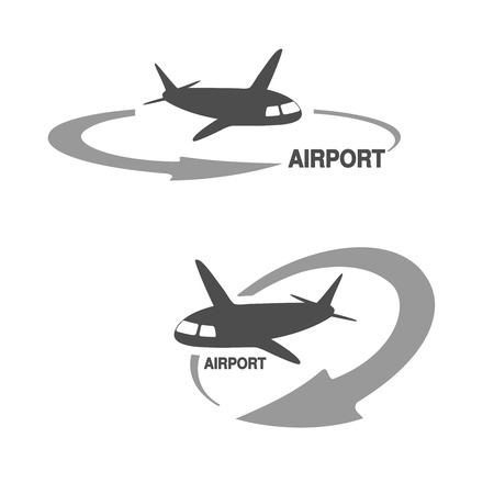 Vector symbol of arrow with flying airplane - icon, symbol for airport - illustration