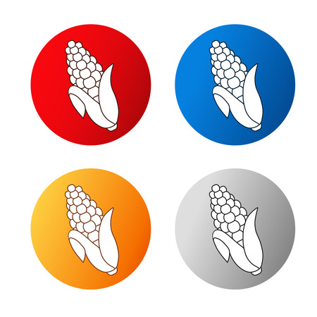 silver circle: Vector corn free symbols isolated on white background. Silhouettes maize in a circle button. Red, blue, orange and silver icon. - illustration