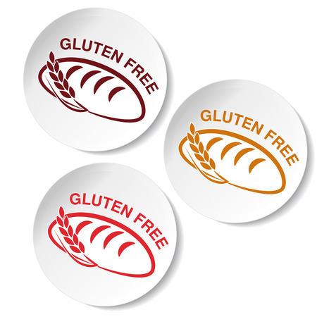 white bread: Vector gluten free symbols isolated on white background. Circular stickers with silhouettes of bread with spikelet. - illustration