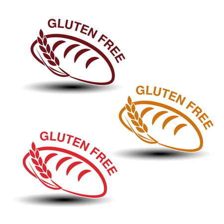 intolerancia: Vector gluten free symbols isolated on white background. Silhouettes of bread with spikelet. - illustration