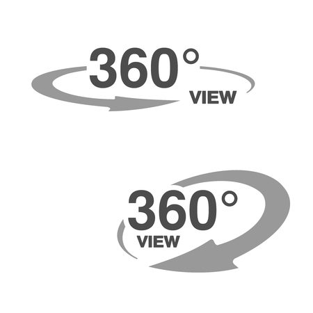 Vector symbols for virtual tour, oval labels with arrow and with text 360 and view. - illustration