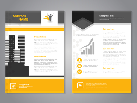 magazine template: Vector modern brochure, abstract flyer with background of monochrome buildings. Layout template. Aspect Ratio for A4 size. Poster of yellow, grey, black and white color. Magazine cover. - illustration