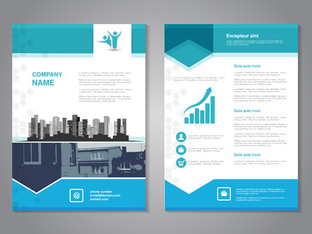 design template: Vector modern brochure with arrow design, abstract flyer with background of monochrome buildings. Layout template. Aspect Ratio for A4 size. Poster of blue, grey and white color. Magazine cover. - illustration