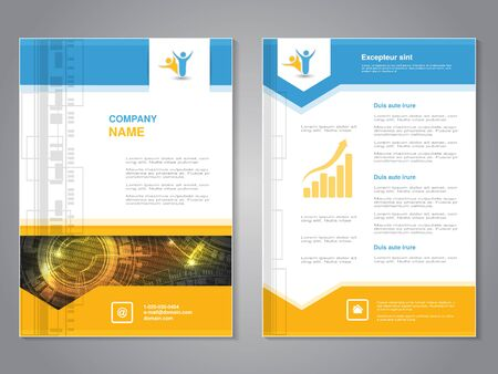 flyer design: Vector modern brochure with arrow design, abstract flyer with technology background. Layout template. Aspect Ratio for A4 size. Poster of blue, yellow, grey and white color. Magazine cover. - illustration Stock Photo