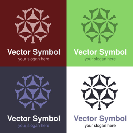 centers: Vector set of abstract green, red, blue and black white logo design, emblems for various centers - circles, rounded symbols - illustration Stock Photo