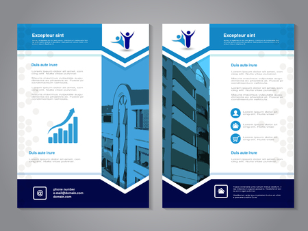 design template: Vector modern brochure, abstract flyer with background of buildings. Layout template. Aspect Ratio for A4 size. Poster of blue, dark blue, grey, black and white color. Magazine cover. - illustration