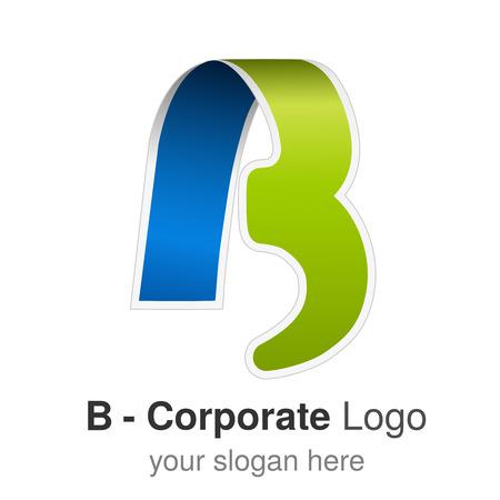 Vector original font alphabet. Letter B, corporate logo design, paper blue - green ribbon icon, origami - illustration