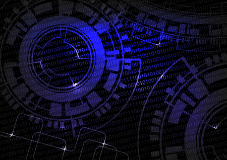 Vector black blue technology background with binare code and wheel design, future wallpaper - illustration