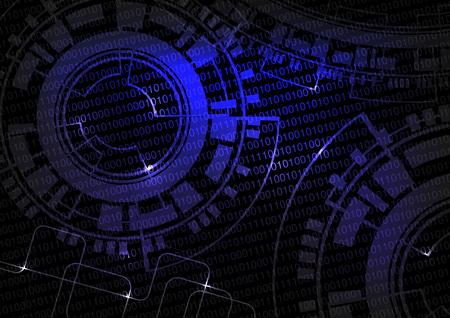 informatics: Vector black blue technology background with binare code and wheel design, future wallpaper - illustration