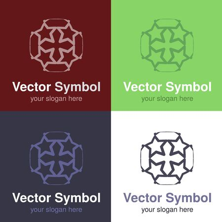 cristian: Vector set of abstract green, red, blue and black white logo design of Cristian cross, emblems for a religious group - circles, rounded symbols - illustration Stock Photo