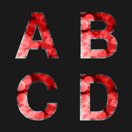 d mark: Vector red font illuminated with reflection effect on black background - set 1. Capital initial letter A, B, C, D for monograms and logos. Glittering style alphabet. - illustration Stock Photo