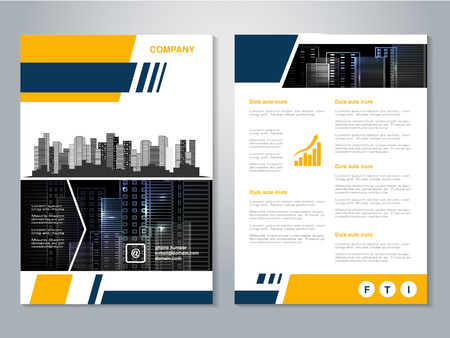 Vector modern brochure, abstract flyer with background of buildings. City scene. Layout template. Aspect Ratio for A4 size. Poster of yellow, dark blue, black and white color. Magazine cover. - illustration