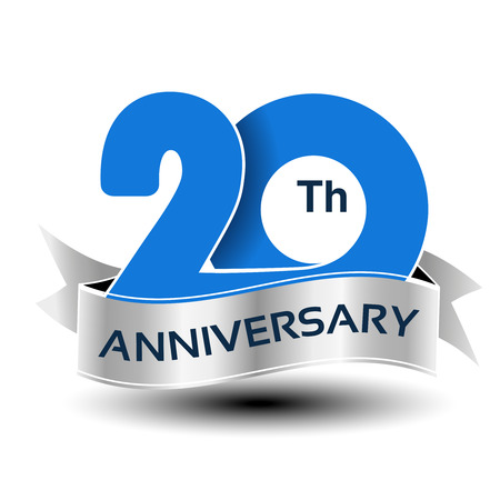 Vector 20 years anniversary, blue number with silver ribbon - illustration Ilustrace