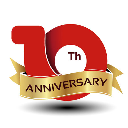 Vector 10 years anniversary, red number with golden ribbon - illustration