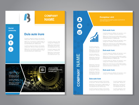 Vector modern brochure with blue yellow design, abstract flyer with technology background. Layout template. Poster with arrow design, Magazine cover. - illustration Stock Illustratie