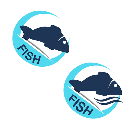 animal silhouette: Vector fish silhouette with wave water. Circular seafood symbols isolated on white background for produkt design or menu restaurant. - illustration