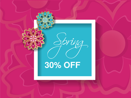 flower layout: Vector spring sale background with colorful flower. Pink blue layout template. Card, banner, flyer, poster, brochure or voucher discount with white frame and blooms design. Promotion offer. - illustration