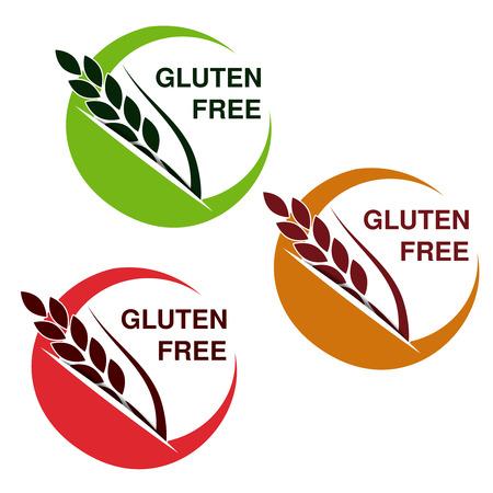 produits céréaliers: Vector des symboles sans gluten isolés sur fond blanc. Autocollants circulaires avec spikelet. - illustration Illustration