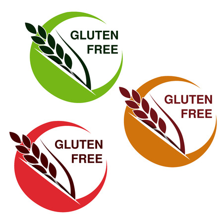 Vector gluten free symbols isolated on white background. Circular stickers with spikelet. - illustration Illustration