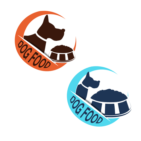 Vector dog food label with silhouette of a dog and a bowl of feed. Circular blue and orange dog food symbols isolated on white background for produkt design, packaging or advertising. - illustration