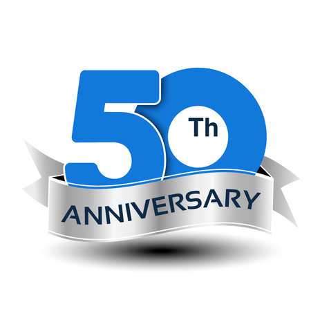 Vector 50 years anniversary, blue number with silver ribbon - illustration Çizim