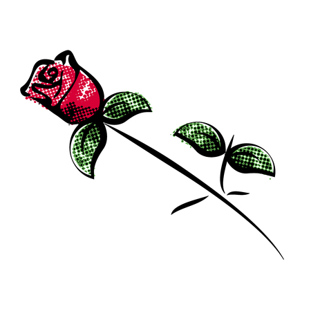 rose tattoo: Vector red rose with green leaves on white background. Silhouette with black lines. Decoration bloom  for invitation, Valentines day card or summer offer. - illustration Illustration