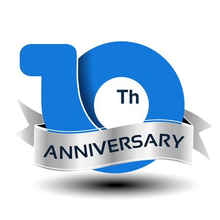 Vector 10 years anniversary, blue number with silver ribbon - illustration Ilustrace