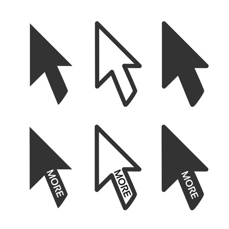 ベクトルの黒い矢印ポインターのビジネスのための白い背景、詳細情報または次のオプション用のボタン。-イラスト