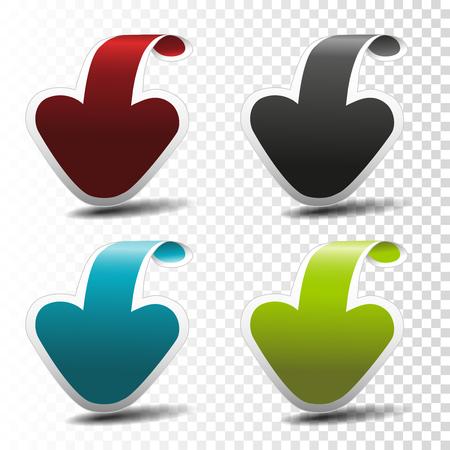 Vector black, blue, red and green arrow pointers on transparent background for business, information page, menu, options, navigation. - illustration Illustration