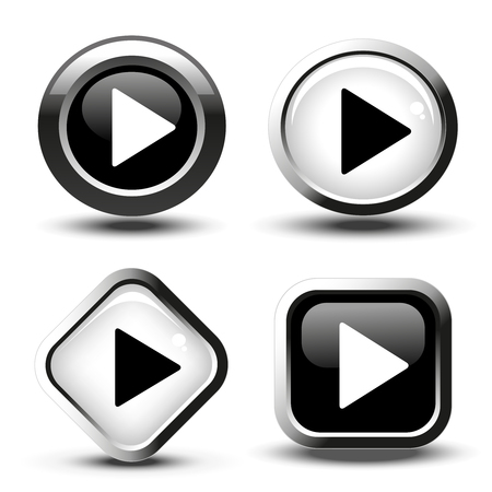 multimedia icons: Vector play button icon - illustration