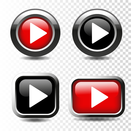 multimedia icons: Vector play button icon on transparent background. - illustration