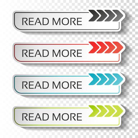 Vecteur lire plus de boutons avec le pointeur de la flèche. Étiquettes noires, bleues, rouges et vertes. Autocollants avec une ombre sur fond transparent pour les entreprises, page d'informations, menu, options, navigation. - illustration