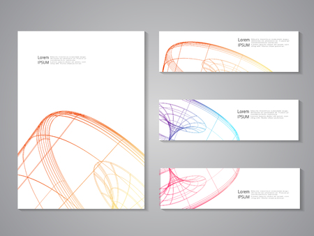 blank magazine: Vector set of covers and banners. Future geometric design. Abstract 3d wheel. Line design, wire element. Eps10 - illustration Illustration