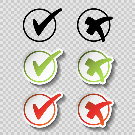 Vector check mark black, green and red simple symbols on transparency background, circular buttons with shadow - illustration Illustration