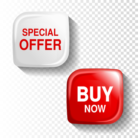 reflection: Vector red and white glossy button on transparent background, plastic square label with text - Special offer, Buy now. - illustration