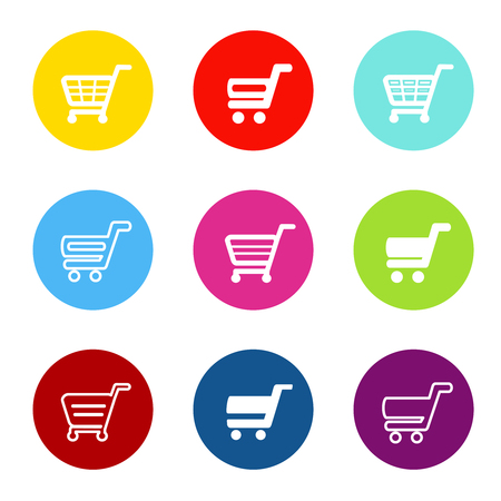 Vector simple shopping cart, trolley with circle color buttons, labels - illustration