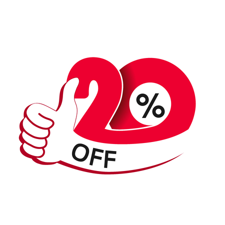 Vector special sale offer. Red tag with best choice. Discount offer price label with hand gesture.
