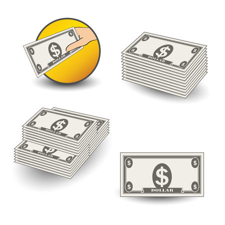 Vector money icons. Symbol of financial services, cash back, a package of money, dollars. - illustration