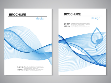Vector nature brochure, design of water, blue white flyer, abstract wave design with water drop. Layout template for A4 size. Poster with pure line design. Magazine, book cover. - illustration Ilustracja