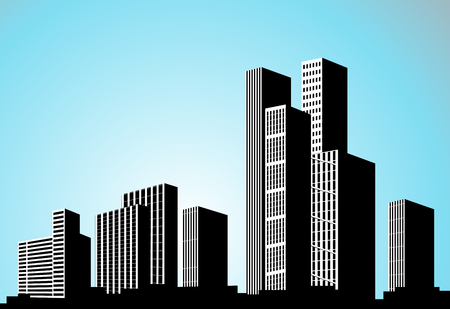 Vector black city silhouette. Background with buildings. City scene. Big skyscrapers panorama. - illustration