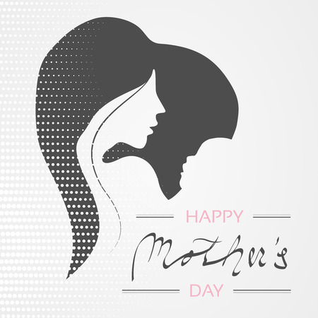 Vector Happy Mothers Day. Greeting card with woman silhouette and baby silhouette in the heart.