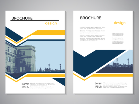 Vector modern brochure, abstract flyer with background of buildings. City scene. Layout template. For A4 size. Poster of blue, yellow and white color. Magazine cover. - illustration Ilustracja