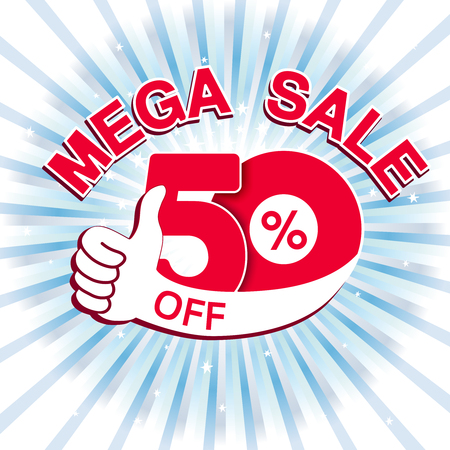 Vector big sale banner. Mega sale with 50  off. Red special offer with best choice symbol on blue striped background. Template design with gesture hand. - illustration