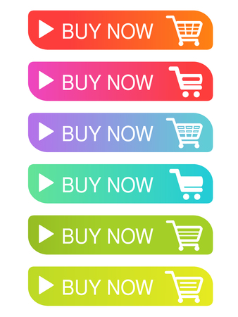 Vector simple shopping cart, trolley. Menu item buy now. Coloured buttons. - illustration Ilustracja