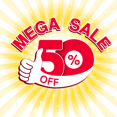 Vector big sale banner. Mega sale with 50  off. Red special offer with best choice symbol on yellow striped background. Template design with gesture hand. - illustration